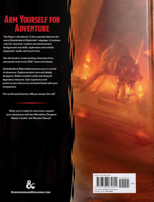 Dungeons & Dragons Player's Handbook 5th ed, back